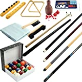 Pool Table Accessory 32 Piece Kit- Billiards Balls, Cues, Stick Repair, Roman Rack, Table Brush,...