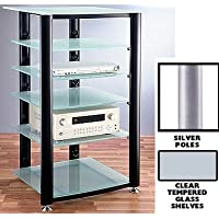 VTI HGR Series 6 Shelf Audio Rack - Silver / Clear