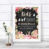 Chalkboard Style Pink Roses Kids Table Personalised Wedding Sign Print