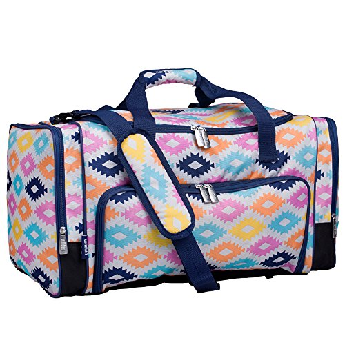 (Wildkin Weekender Duffel Bag, Features Removable Shoulder Strap and Moisture-Resistant Lining, Carry-On Size, Perfect for Sleepovers, Sports Practice, and Travel – Aztec)