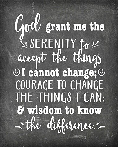 Simply Remarkable Serenity Prayer - Poster Print Photo Quality - Inspirational Wall Art for Alcoholics Anonymous, AA, Narcotics Anonymous, NA - Made in USA (8x10, Prayer 1 - Chalk)