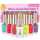 Chemical Free Nail Polish Makeup Kit - Emosa Natural Non Toxic Peel Off Fast Drying Water Based Nail Art Gift Set for Little Girls,Kids,Toddler,Baby,Pregnant Women(6 colors and 1 top coat)
