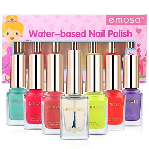 emosa Peelable Nail Polish Makeup Kit Natural Non Toxic Chemical Free Water Based Fast Drying Nail Varnish Gift Set for Little Girls,Toddler,Kids,Women (Easy Peel Off, 7 Bottles)