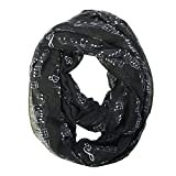 Bowbear Women's Playful Musical Notes Print Infinity Scarf, Black