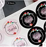 Efivs Arts 160pcs Black-White Thank You Adhesive