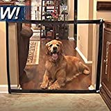 Jaxbo Magic Gate Portable Install Anywhere, Folding Safe Mesh Gate for Pets Dogs Cats Animals Enclosure Fences, Suitable for Indoor and Outdoor (Black, Small)