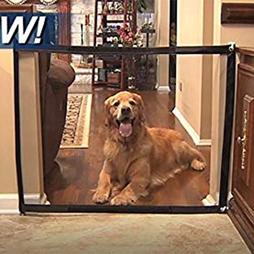 Jaxbo Magic Gate Portable Install Anywhere, Folding Safe Mesh Gate for Pets Dogs Cats Animals Enclosure Fences, Suitable for Indoor and Outdoor (Black, Small) by Jaxbo