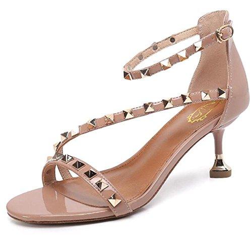 YEEY Sandalias remaches de verano sandalias abiertas para mujeres tobillo  hebilla hueco zapatos de tacón alto c627fc8af93b