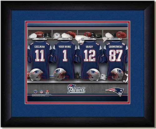 New England Patriots Team Locker Room Personalized Jersey Officially Licensed NFL Sports Photo 11 x 14 Print ()