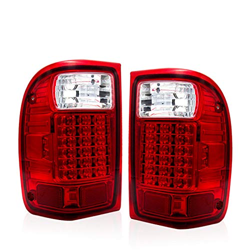 Fit 1993-1999 Ford Ranger Led Tail Lights Chrome Housing/Red Lens