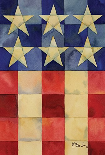 Toland Home Garden Stars and Stripes on Squares 12.5 x 18 In