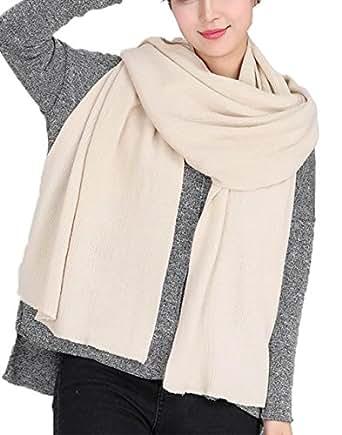 Wander Agio Women's Warm Long Shawl Winter Scarfs Large Scarf Pure Color Beige
