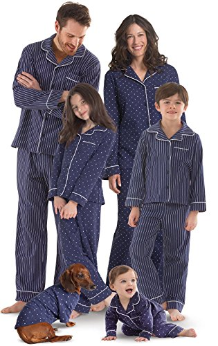 PajamaGram Family Pajamas Ultra Soft - Family Matching Pajamas, Navy, Girls, 12