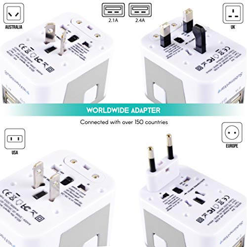 Power Plug Adapter - International Travel - (Pack of 2) w/4 USB Ports Work for 150+ Countries - 220 Volt Adapter - Travel Adapter Type C Type A Type G Type I f for UK Japan China EU Europe European by   SublimeWare   (Image #2)