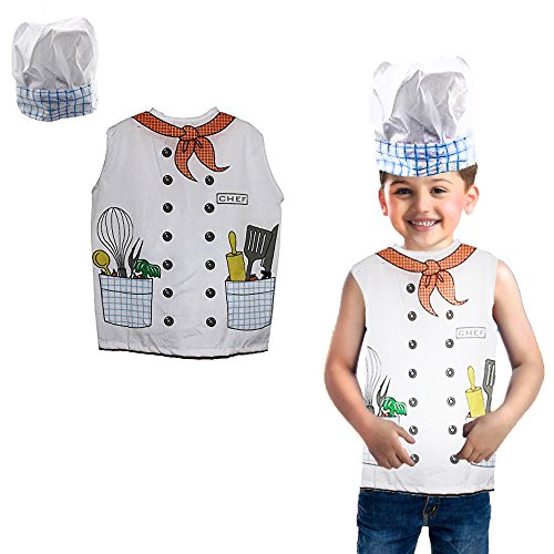 Toy Cubby Kids Toddler Pretend Play Little Chef Costume Hat and Vest Set -
