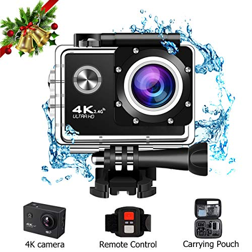 Action Camera 16MP 4K WiFi Waterproof Sport Cam, WIILII Ultra HD 98ft Underwater 170 Degree Wide Angle Lens Camcorder with Rechargeable Batteries Remote Control and Mounting Accessories Kits