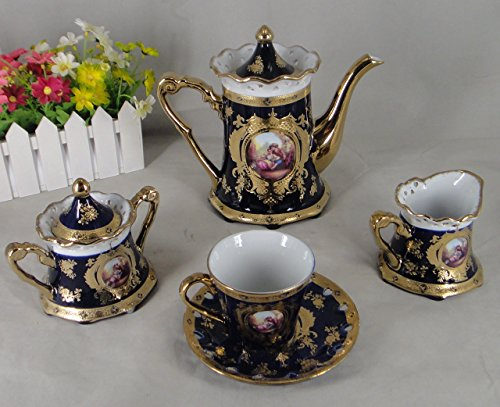 Limoges Style 17 pieces Romance (Romeo & Juliet) Design Tea Set in Cobalt Blue & Gold Floral Design Gift Boxed, Service for 6 Person, by Ashley Gifts