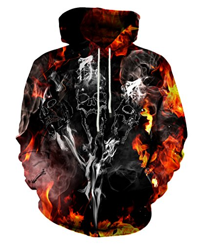 Neemanndy Black Classic Sweaters Hoodie with Kangroo Pocket, Graphic Skull Hooded for Men Women, XX-Large ()