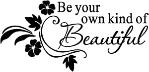 AUHOKY Be You Own Kind of Beautiful Wall Decal Sticker Quotes, Removable DIY Saying Wallpaper Home Decor for Kids Bedroom Living Room Dressing Room Gift - Flower Mural Art Words (23×11inch, Black)