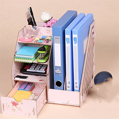 - Desktop A4 File Basket Data Storage Rack Wooden File Rack with Drawer/Pen Holder Organizer Office Organizer, 27.5×26×30cm,Light Pink