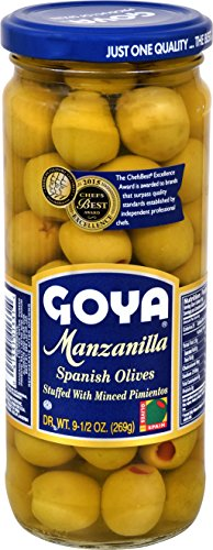 Goya Foods Manzanilla Spanish Olives Stuffed with Minced Pimientos, 9.5 Ounce (Pack of 24)