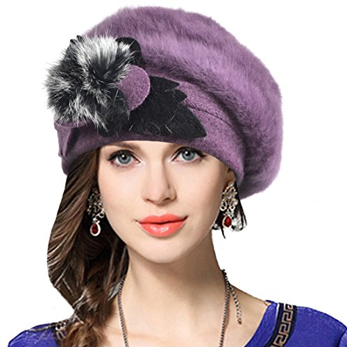 Lady French Beret 100% Wool Beret Floral Dress Beanie Winter Hat (Purple Christmas Hat)