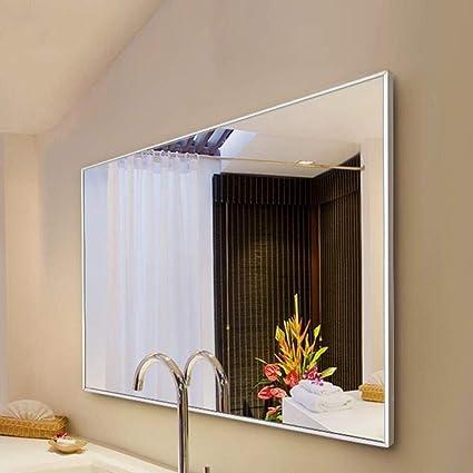 WYH Precisión Espejo Colgante de Aluminio del Marco de baño Espejo de Pared Espejo de baño Espejo de baño Espejo de baño Elegante (Color : Black, Size : 80cmX100cm): Amazon.es: Hogar
