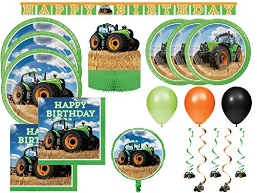 (Tractor Time Farming Deluxe Boys Birthday Party Supplies Kit for 24, 100 Pcs)