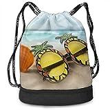 Sport Bundle Drawstring Backpack Pineapple In Sunglasses Travel Durable Large Space Gym Sack Fantastic Waterproof