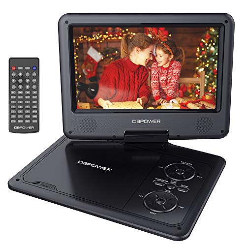 "DBPOWER 9.5"" Portable DVD Player with Swivel Screen, 5-Hour Built-in Rechargeable Battery, Support CD/DVD/SD Card/USB, with Car Charger and Power Adaptor (Black)"