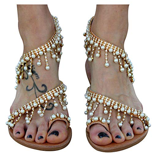 - Athlefit Women's Beaded Flat Sandals Pearl Beach Toe Ring Casual Bohemia Summer Sandals Size 8 Gold
