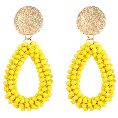 Stylebar Teardrop Beaded Earrings for Summer Bohemian Yellow Bead Boho Drop Dangle Earring Handmade Jewelry for Women Girls Daily Wedding Party