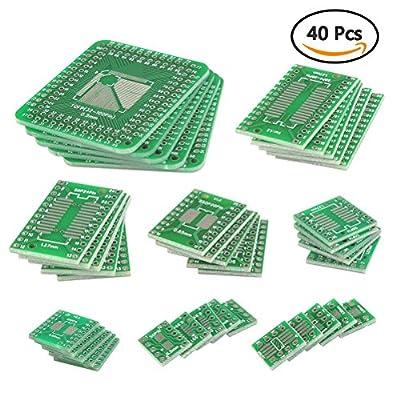 QLOUNI 40pcs PCB Proto Boards SMD to DIP Adapter Plate Converter TQFP (32 44 48 64 84 100) SOP SSOP TSSOP 8 10 14 16 20 23 24 28