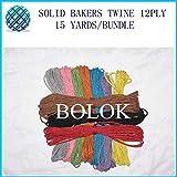 FINCOS 10 Color Plain Bakers Twine 40pcs/lot 15yards/Bundle 2mm 12 ply Solid Cotton Twine by