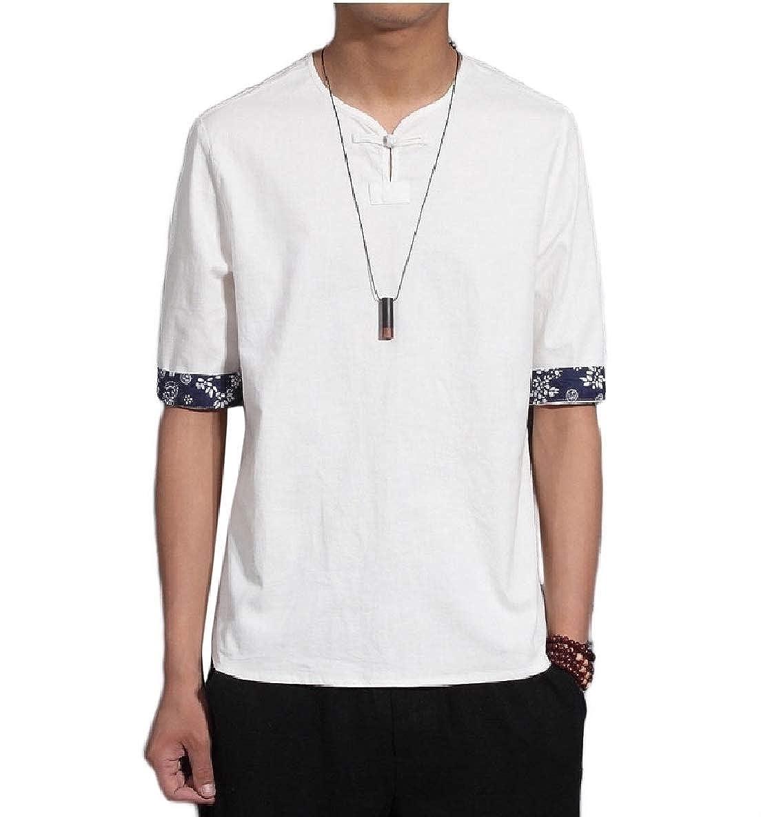 Winwinus Men Plus Size Chinese Style 3//4 Sleeve Linen Tees Shirt