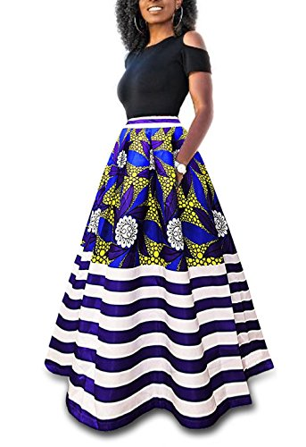 Symina Women's Two Pieces African Floral Print Maxi Dress A Line Long Skirt With Pockets (Two Pocket Skirt)
