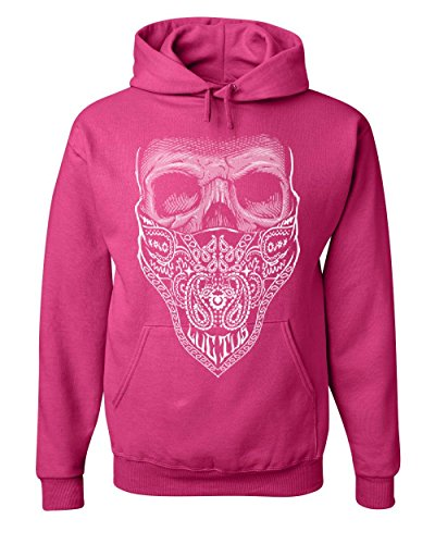 Tee Hunt Bandana Skull Hoodie Badass Gangsta Swag Dead Sweatshirt Hot Pink L (Skull Pink Hoodie)