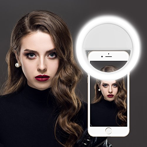 Selfie Ring Light, Gvoo Clip On 36 LED Camera Light, Portable Round Warm Flash Light for All Smartphones Tablets iPhone iPad Samsung