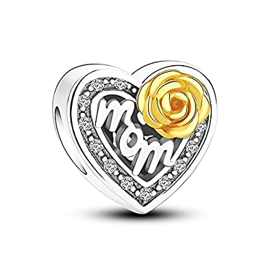 Glamulet 925 Sterling Silver Gorgeous Rose for Mom Heart Shaped Charms with Gold Rose, Charms for Bracelet by Glamulet