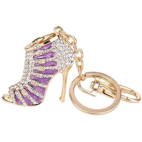 Kissweet Crystal Shoe High Heel Keychain Rhinestone Purse Charm Pendant Bag Car Key Ring Gift