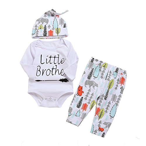 ys Cute Little Brother Romper+Long Animal Tree Pants+Hat Playwear Bodysuit Set (White, 6-12Month) (Animal Romper)