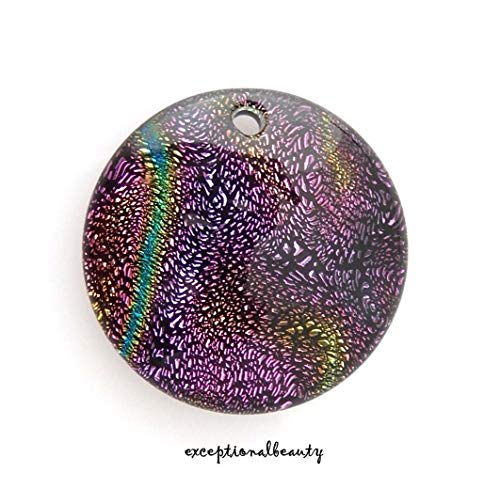 Hand Blown Glass Round Beads - Dichroic Glass 29mm Bead Drop Pendant Sparkly Dichro Hand Blown Focal Point