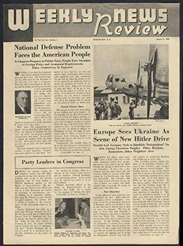 WEEKLY NEWS REVIEW school paper 1/9 1939 Hitler in Ukraine? Flying Fortress