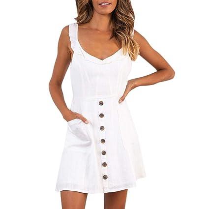 1dbc18228 Amazon.com  Women Summer Short Mini Dresses Cuekondy Casual V Neck ...