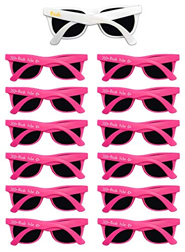 Bachelorette Party Sunglasses - 12 Pack Bride Tribe & Bridesmaid Wedding Glasses Bulk -