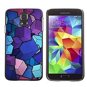 TopCaseStore / la caja del caucho duro de la cubierta de protección de la piel - Design Minimalist Cubes - Samsung Galaxy S5 SM-G900