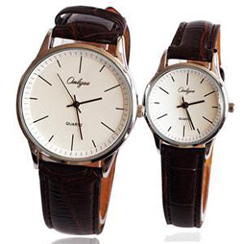 simple-type-brown-leather-couple-watches-for-women