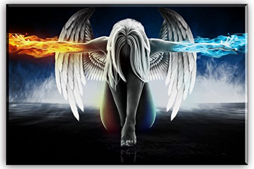 Fire Oil Painting - Fire and Ice Water Angel Wall Art for Living Room, SZ Abstract Anime Oil Painting Canvas Prints Decor of Beautiful Wing Girl Picture (Bracket Mounted Ready to Hang, 1