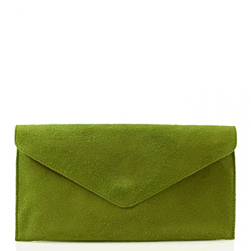 Leather Olive Wedding Envelope Party Genuine Italian Purse Crossbody Bag Suede Handbag Designer Clutch Bag OqO6Tnvp