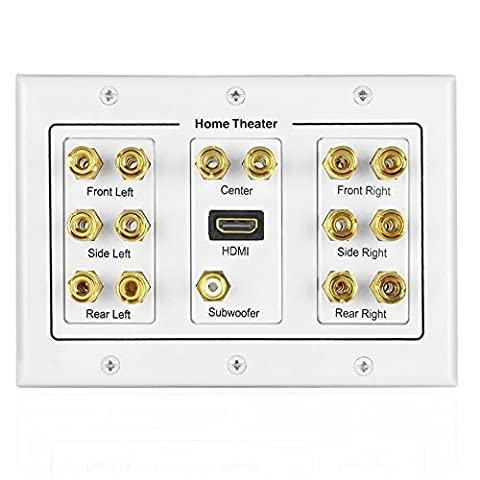 TNP Home Theater Speaker Wall Plate Outlet - 7.1 Surround Sound Audio Distribution Panel, Gold Plated Copper Banana Plug Binding Post Coupler, RCA LFE Jack for Subwoofer, HDMI Port UHD 4K HD (Bar Speakers For Tv Boss)